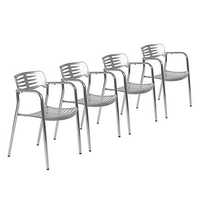Eurostyle™ Helen Arm Chairs in Shiny Aluminum (Set of 4)