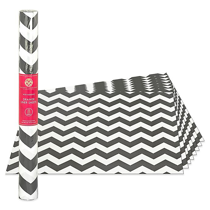 8 Pack Non Adhesive Drawer Liner Sheets In Grey Chevron