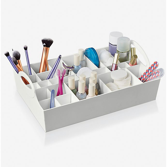 Alternate image 1 for Style in a Box Adjustable Cosmetic Organizer in White