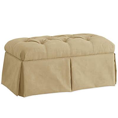 Skyline Furniture Skirted Storage Bench in Velvet Buckwheat