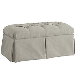 Skyline Furniture Skirted Storage Bench in Velvet Light Grey