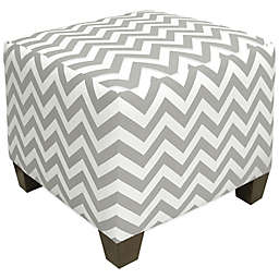 Skyline Furniture Square Ottoman in Zigzag Ash/White