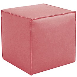 Skyline Furniture French Seam Cocktail Ottoman in Linen Coral