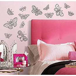 RoomMates Glitter Butterflies Peel and Stick Wall Decals