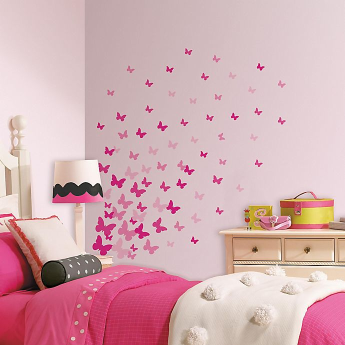 Alternate image 1 for RoomMates Pink Flutter Butterflies Wall Decals