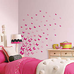 RoomMates Pink Flutter Butterflies Wall Decals