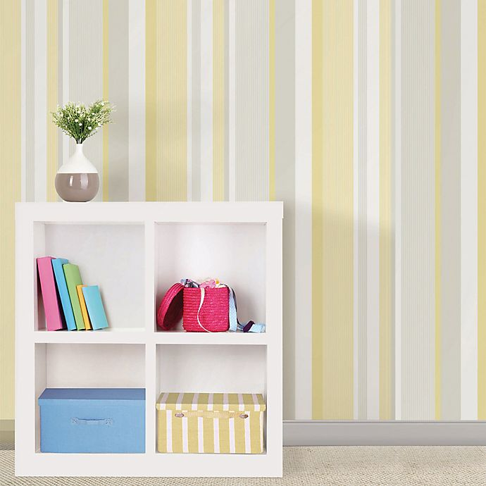 Wallpops Nuwallpaper Linen Stripe Peel Stick Wallpaper In Yellow Bed Bath Beyond