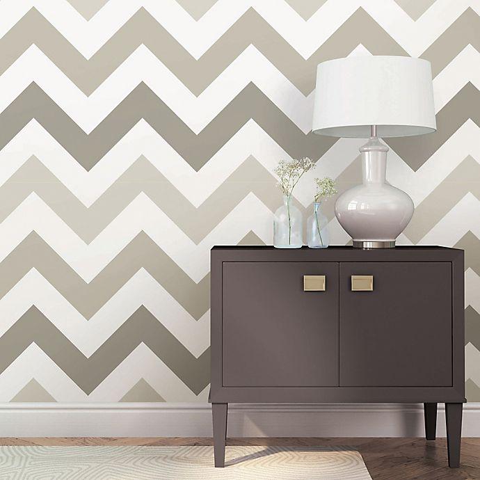 Alternate image 1 for WallPops!® NuWallpaper™ ZigZag Peel & Stick Wallpaper in Taupe
