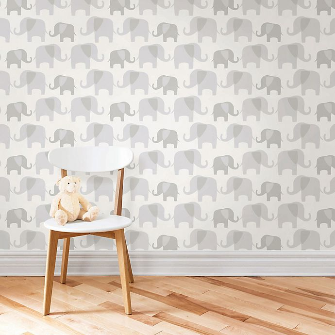 Alternate image 1 for WallPops!® NuWallpaper™ Elephant Parade Peel & Stick Wallpaper in Grey