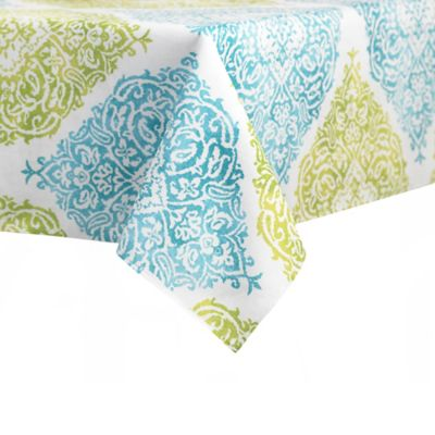 Merveilleux J. Queen New York™ Indoor/Outdoor Roma Tablecloth In Aqua | Bed Bath U0026  Beyond