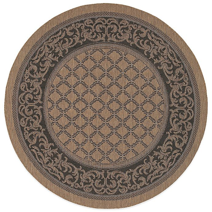 Alternate image 1 for Couristan® Recife Garden Lattice 7-Foot 6-Inch Round Indoor/Outdoor Rug in Cocoa/Black