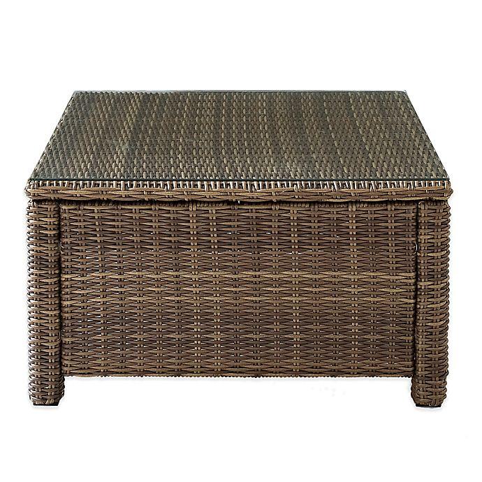 Alternate image 1 for Crosley Bradenton Glass Top Wicker Coffee Table in Sand