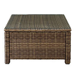 Crosley Bradenton Glass Top Wicker Coffee Table in Sand