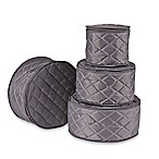.ORG Quilted 4-Piece Plate Case Set in Grey