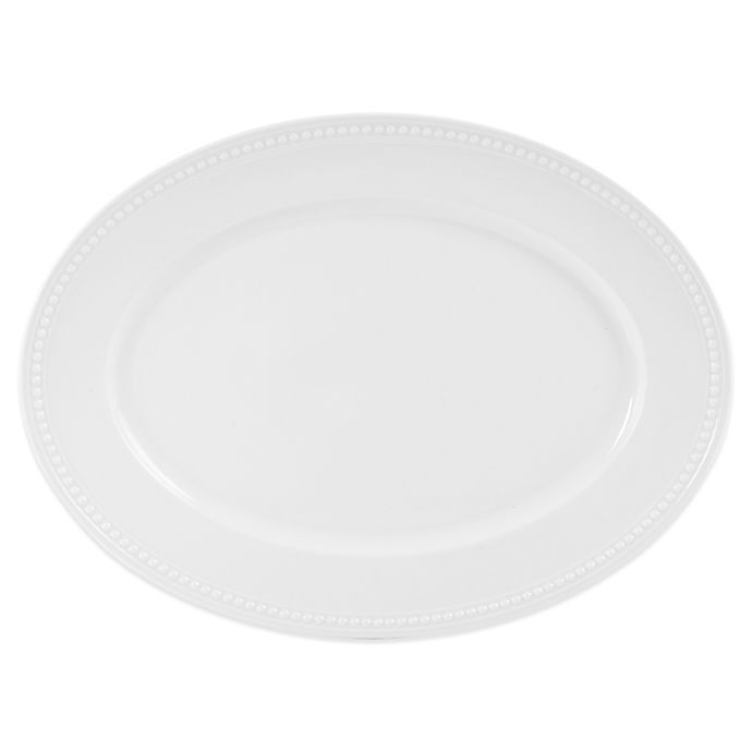 Alternate image 1 for Everyday White® by Fitz and Floyd® Beaded 15.88-Inch Oval Platter