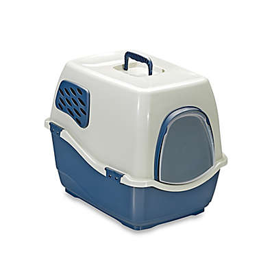 Marchioro Bill Deluxe Enclosed Large Cat Litter Pan with Filter in Blue