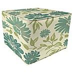 Print 20-Inch Square Outdoor Square Pouf Ottoman in Sunbrella® Violetta Baltic