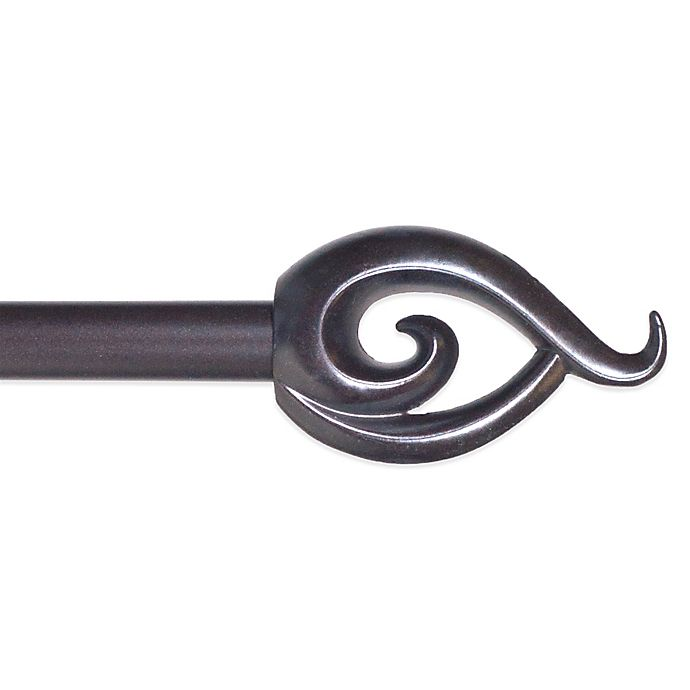 Alternate image 1 for Nature-Inspired 48-Inch - 86-Inch Adjustable Curtain Rod with Flame Finials in Rubbed Bronze