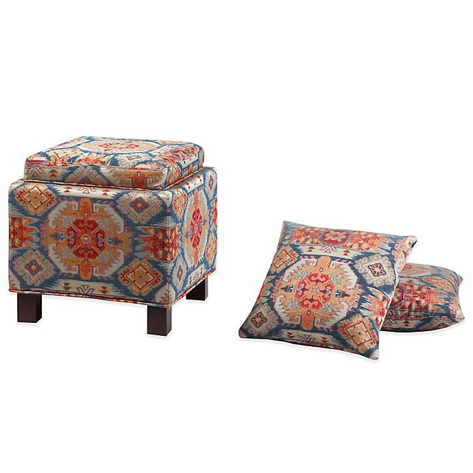 Madison Park Square Storage Ottoman With Two Accent