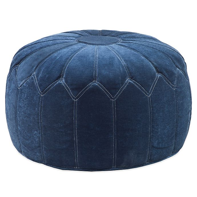 Alternate image 1 for Madison Park Round Pouf Ottoman in Blue