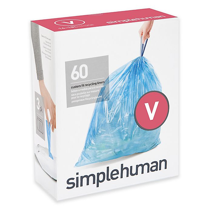 Alternate image 1 for simplehuman® Code V 60-Pack 16-18-Liter Custom-Fit Recycling Liners in Blue