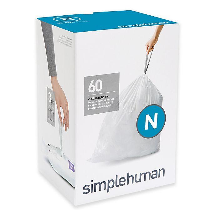 Alternate image 1 for simplehuman® 60-Pack Code N 45-50-Liter Custom-Fit Liners in White