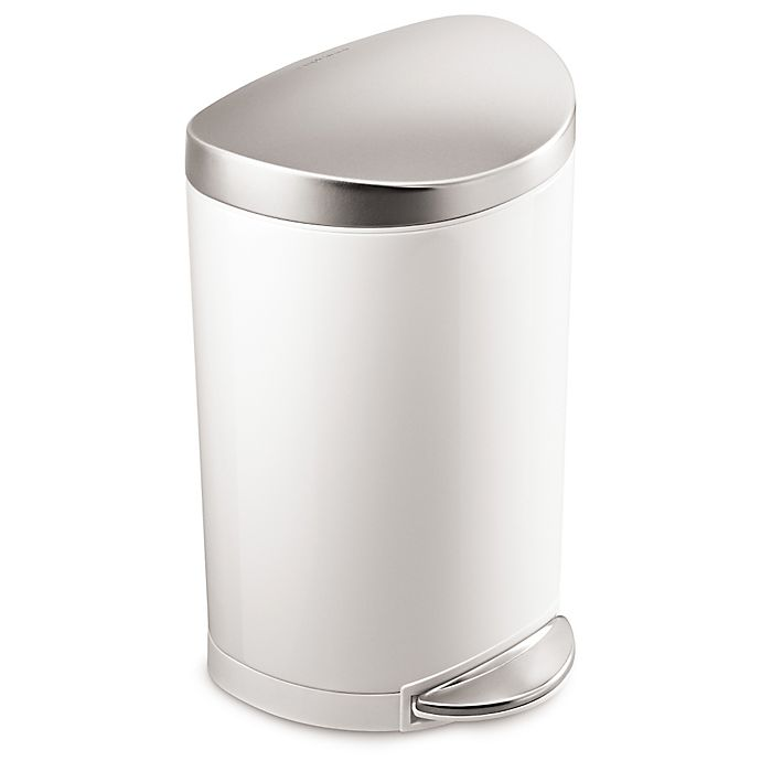 Alternate image 1 for simplehuman® Stainless Steel Semi-Round 10-Liter Step-On Trash Can in White