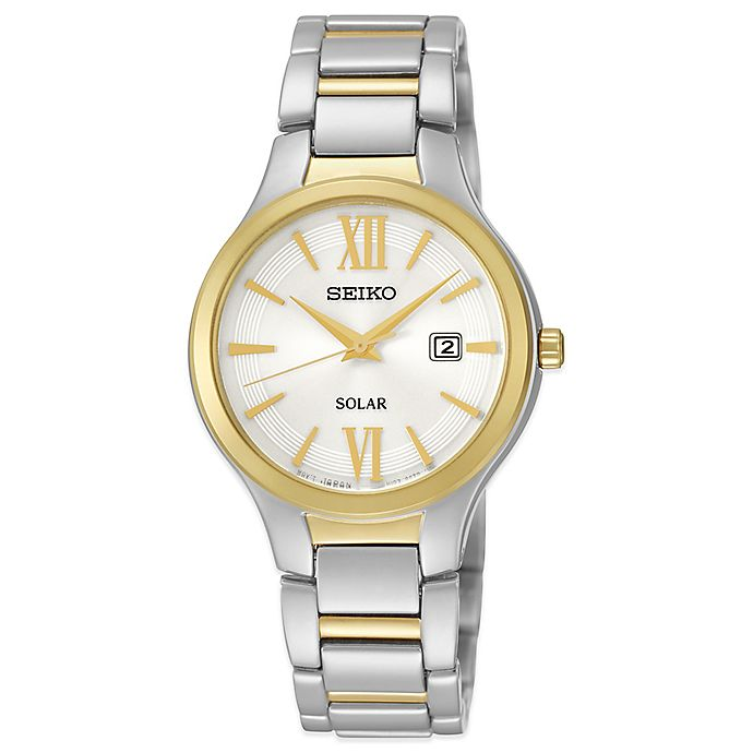 3aac604c3d8 Seiko Ladies  29mm White Dial Solar Watch in Two-Tone Stainless Steel