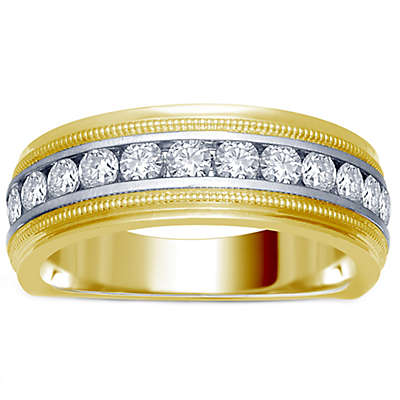 14K Yellow and White Gold Channel-Set Diamond Men's Milgrain Wedding Band Collection