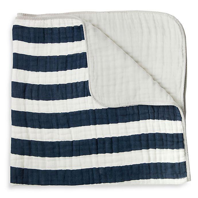 Alternate image 1 for Little Unicorn Stripe Cotton Muslin Quilt in Navy