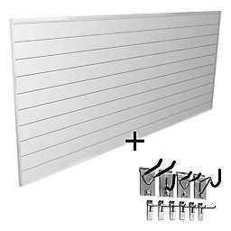 Proslat Mini Bundle 8-Foot x 4-Foot & 10-Piece Mini Hook Kit in White