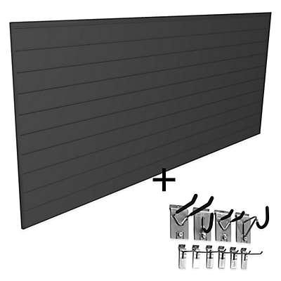 Proslat Mini Bundle 8-Foot x 4-Foot & 10-Piece Mini Hook Kit in Black
