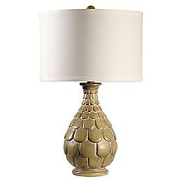 Small Petal Table Lamp in Natural Wood with Medium Drum Shade in Sea Salt