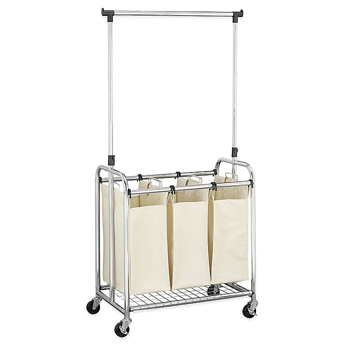 Alternate image 1 for Household Essentials® 3-Bag Laundry Sorter with Clothes Rack