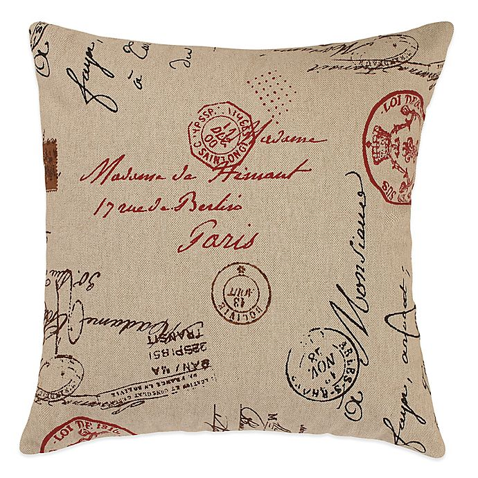 Alternate image 1 for French Postale Square Throw Pillow