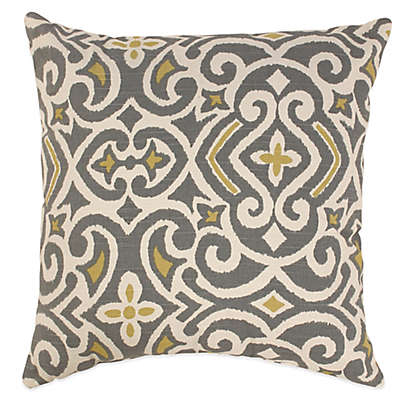 New Damask Square Throw Pillow in Greystone