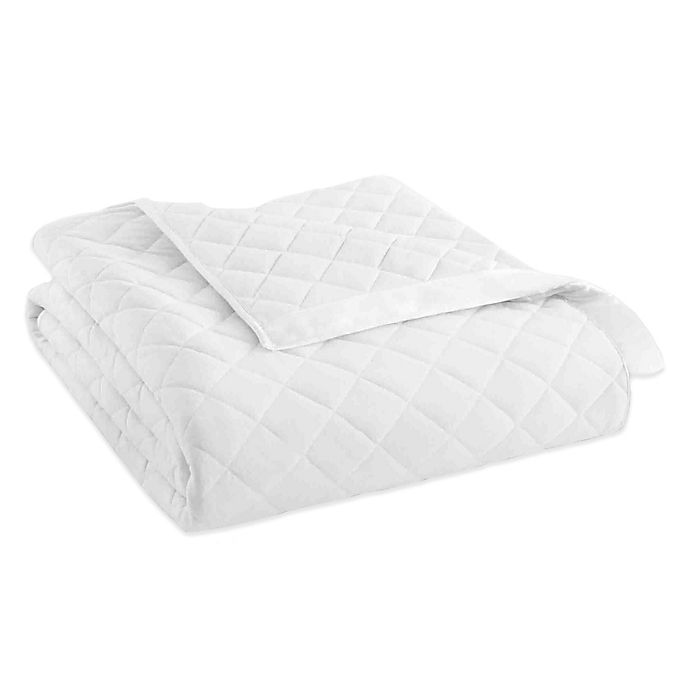 Alternate image 1 for Micro Flannel® Quilted Satin-Trimmed Twin Blanket in White