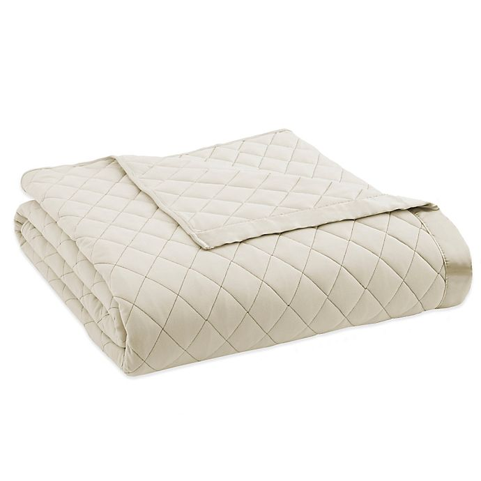 Alternate image 1 for Micro Flannel® Quilted Satin-Trimmed Twin Blanket in Ivory