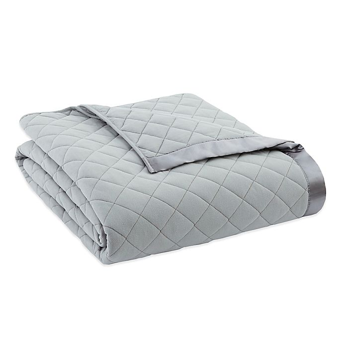 Alternate image 1 for Micro Flannel® Quilted Satin-Trimmed Twin Blanket in Greystone