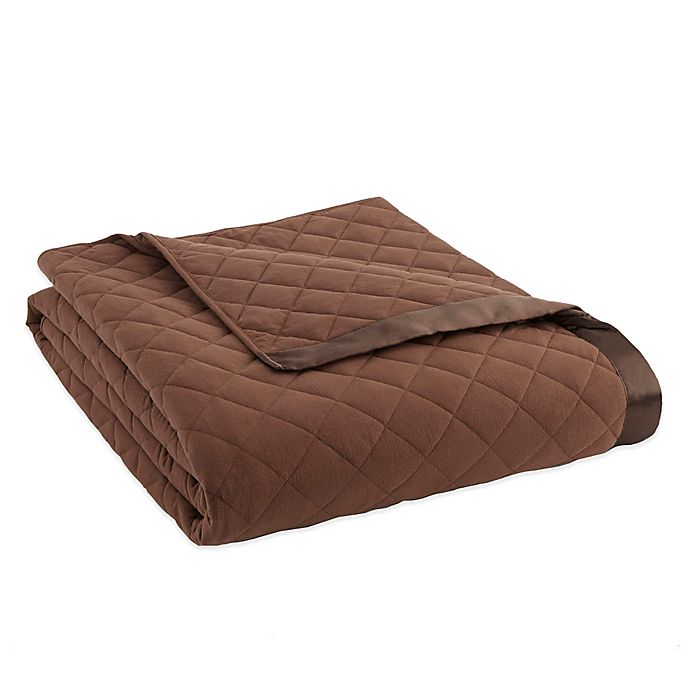 Alternate image 1 for Micro Flannel® Quilted Satin-Trimmed Twin Blanket in Chocolate