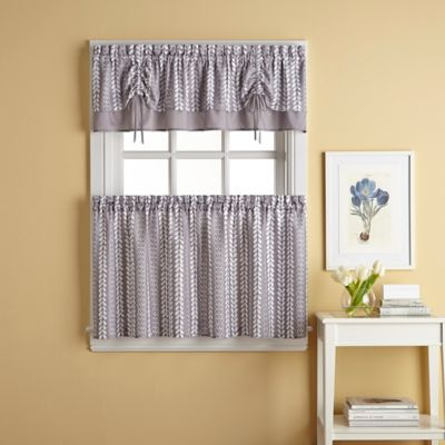 bloom window curtain tier pair in grey | bed bath and beyond canada