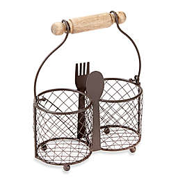 Home Essentials & Beyond Wire 2-Section Utensil Caddy
