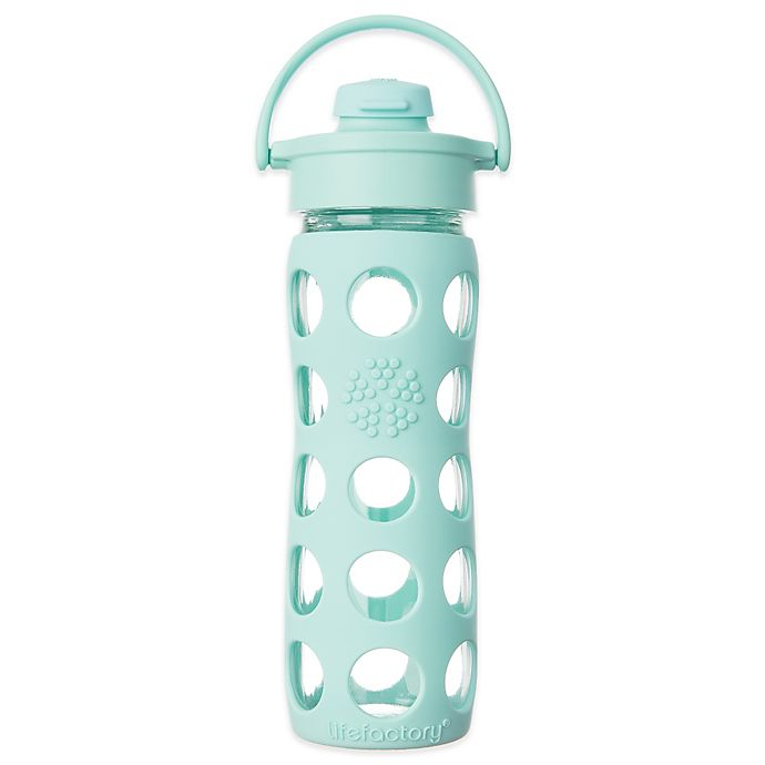 Alternate image 1 for Lifefactory® 16 oz. Glass Water Bottle with Flip Cap in Turquoise