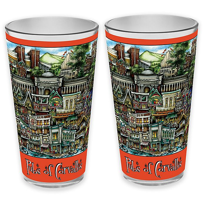Alternate image 1 for pubsOf. Corvallis, Oregon Pint Glasses (Set of 2)