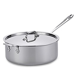 All-Clad D3 Stainless Steel 6 qt. Covered Deep Saute Pan with Helper Handle