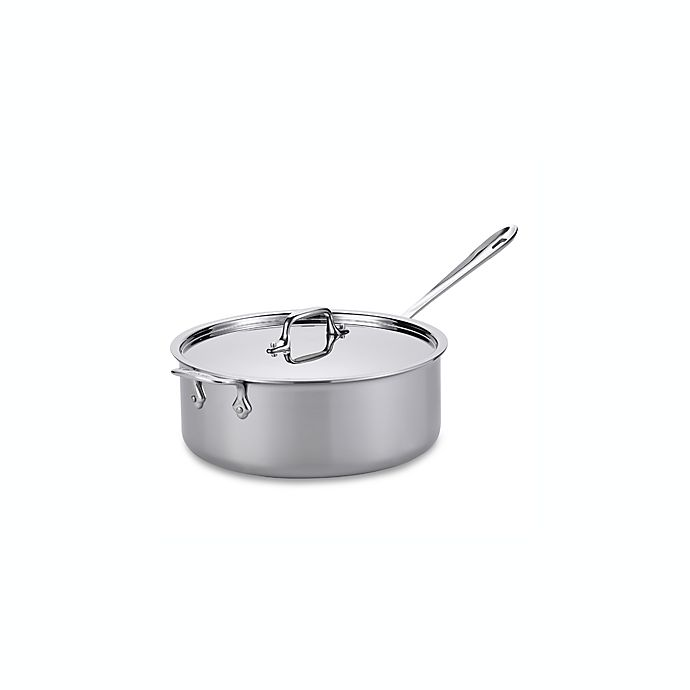 Alternate image 1 for All-Clad Stainless Steel 6 qt. Covered Deep Saute Pan with Helper Handle