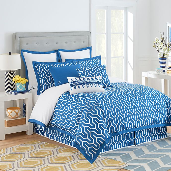 Alternate image 1 for Jill Rosenwald Plimpton Flame Reversible Duvet Cover in Blue/White