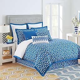 Jill Rosenwald Plimpton Flame Reversible Duvet Cover in Blue/White