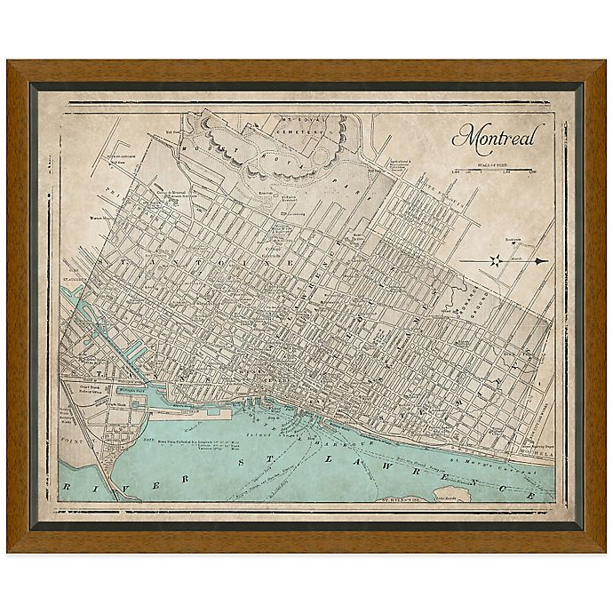 Alternate image 1 for Framed Map of Montreal, Canada Wall Décor