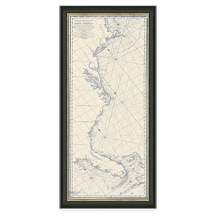 Framed Coastal Map Of Cape Cod, MA To Key West FL. Wall